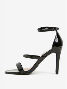 Černé lesklé sandálky na jehlovém podpatku Dorothy Perkins