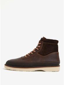 Tmavě hnědé pánské kožené kotníkové boty GANT Huck