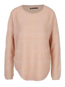 Světle růžový lehký svetr s rozparkem na boku ONLY Caviar