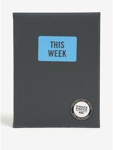 Sivý trhací plánovací blok v pevných doskách Knock Knock This Week