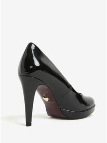 Pantofi stiletto negri cu platforma si aspect lucios - Tamaris
