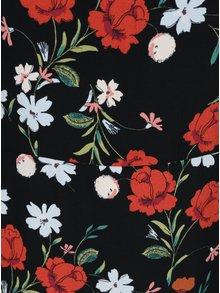 Černé květované šaty s nařasenými rukávy Dorothy Perkins