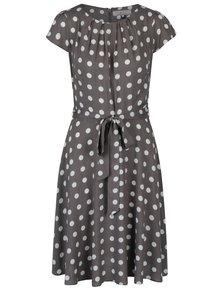Šedé puntíkované šaty se zavazováním v pase Billie & Blossom