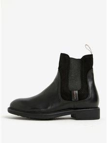 Čierne dámske kožené chelsea topánky so semišovým detailom GANT Lydia