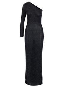 Černé třpytivé maxišaty s odhaleným ramenem Dorothy Perkins
