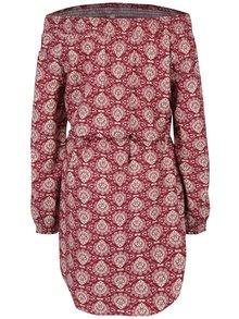 Krémovo-vínové vzorované šaty s odhalenými rameny Blutsgeschwister
