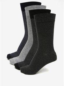 Sada čtyř ponožek v šedé, modré a černé barvě Burton Menswear London