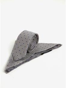 Set cravata si batista gri & albastru pentru costum - Burton Menswear London