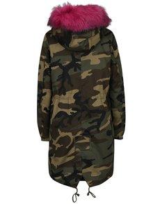 Geaca de iarna kaki cu model army si blana artificiala roz inchis Haily´s Ava
