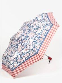 Červeno-modrý vzorovaný skládací vystřelovací deštník Blutsgeschwister