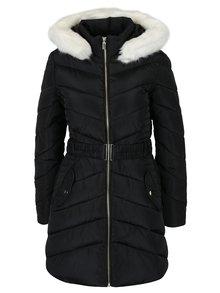Čierny prešívaný kabát s kapucňou Dorothy Perkins