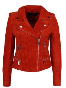 Jacheta biker rosie din piele VERO MODA Royce