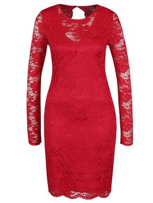 Červené krajkové šaty s průstřihem na zádech VERO MODA Joy