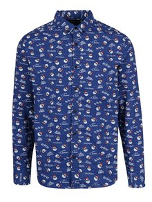 Camasa albastra cu print mos Craciun si inscriptie ONLY & SONS Owen Christmas