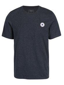Tricou albastru inchis melanj cu logo Converse Core Left Chest