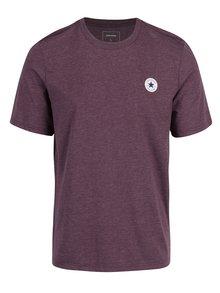Vínové pánské žíhané tričko Converse Core Left Chest