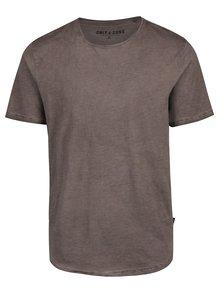 Hnedé melírované tričko s krátkym rukávom ONLY & SONS Murphy