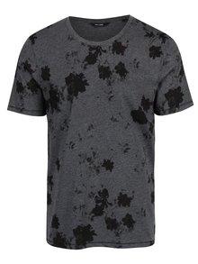 Tmavě šedé žíhané květované tričko s krátkým rukávem ONLY & SONS Matthew