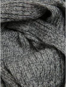 Světle šedá dámská žíhaná vlněná šála Calvin Klein Basic