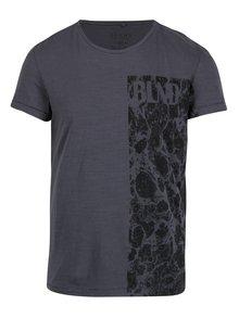 Tricou slim fit gri cu print Blend