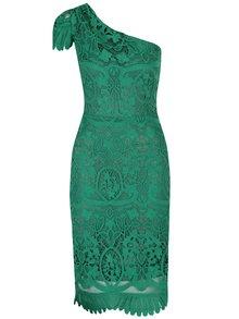 Zelené čipkované šaty cez jedno rameno Miss Grey Sofa