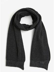 Šedo-černá vlněná pánská šála se vzorem Calvin Klein Jeans Sven