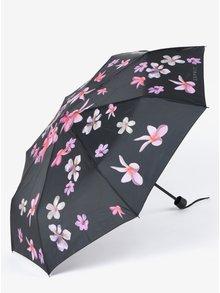Černý dámský květovaný skládací deštník Esprit