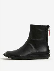 Čierne dámske kožené členkové topánky Camper