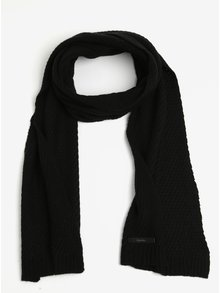 Čierny dámsky vlnený šál Calvin Klein Twist