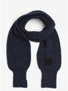 Tmavě modrá dámská žíhaná vlněná šála Calvin Klein Jeans Eline