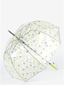 Průhledný dámský deštník s modro-žlutým potiskem Esprit