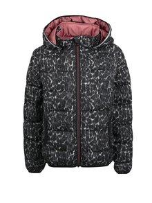 Sivo-čierna dievčenská prešívaná zimná bunda Name it Moni