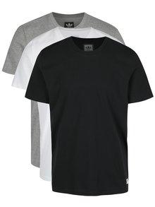 Sada tří pánských triček v černé, bílé a šedé barvě adidas Originals