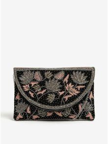Geanta plic crossbody neagra cu margele decorative Pieces Jivan