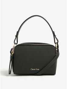 Tmavozelená crossbody kabelka so zipsom v zlatej farbe Calvin Klein Natasha