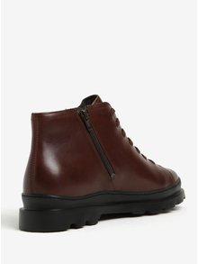 Tmavohnedé pánske kožené členkové topánky Camper