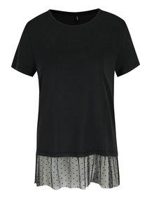 Černé tričko s tylovým volánem ONLY Mia