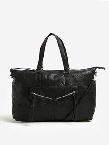 Čierna kožená cestovná taška Pieces Riley