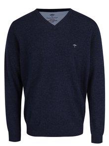 Tmavě modrý žíhaný vlněný svetr s příměsí kašmíru Fynch-Hatton