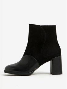 Čierne kožené členkové topánky so semišovými detailmi Camper