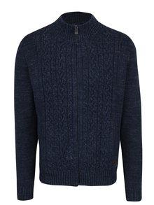 Tmavě modrý pletený cardigan na zip s příměsí vlny Fynch-Hatton