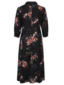 Čierne kvetované košeľové šaty Yest