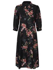 Černé květované košilové šaty Yest