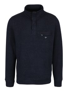 Tmavě modrý žíhaný svetr s náprsní kapsou Fynch-Hatton