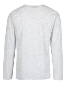 Bluza slim fit gri melanj&albastru inchis cu print  s. Oliver