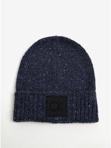 Tmavě modrá dámská žíhaná vlněná čepice Calvin Klein Eline
