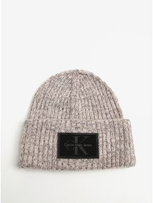 Svetloružová dámska melírovaná vlnená čiapka Calvin Klein