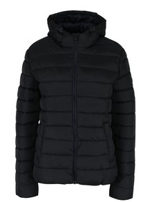 Čierna dámska prešívaná bunda s kapucňou s.Oliver