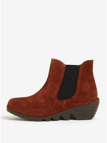 Tehlové dámske semišové chelsea topánky na plnom podpätku Fly London