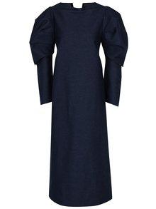 Modré rifľové šaty s 3/4 balónovými rukávmi Bianca Popp
